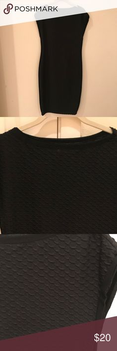"""Black Max Studio Bodycon Dress - Size Medium Very sexy black dress with fun details.  Great LBD for a night out or a perfect dress to layer with a jacket or blazer.  I am 5'9"""" and it hits right at my knee. Max Studio Dresses"""