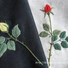 ㅡ  세밀화풍으로 수놓은 장미  리넨에 모사로 수놓았어요.  ㅡ #소금빛자수 #장미자수 #rose #손끝에서피는꽃과자수 #입체자수꽃나무열매 #woolstitch #embroidery #자수 #자수재료 #모사자수실 #서양자수