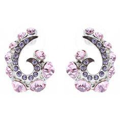Wave Hook Design Crystal Rhinestone Stud Earring Pink