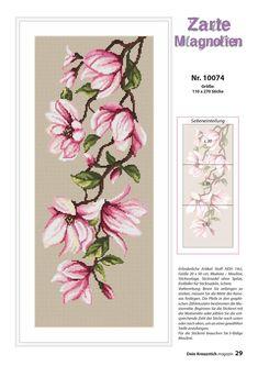 Counted Cross Stitch Patterns, Cross Stitch Charts, Cross Stitch Designs, Cross Stitch Embroidery, Amazing Flowers, Pretty Flowers, Magnolia, Hand Work Embroidery, Cross Stitch Flowers