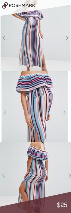 """ASOS Maternity Off Shoulder Stripe Maxi Dress 4 Wore this dress for my baby shower and it was beautiful! My stomach measured at 40-43"""" at this point and fit perfectly. Off the shoulder bohemian design with slits on both side of the legs :D ASOS Maternity Dresses Maxi"""