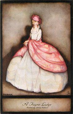 """A Fayre Ladye"" ~ 1930 postcard illustrated by Jennie Harbour Vintage Tags, Vintage Postcards, Vintage Ladies, Divas, Rococo Fashion, Woman Drawing, Children's Book Illustration, Book Illustrations, Glamour"