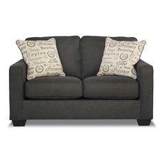 Aleyna Charcoal Loveseat Love Seat Charcoal Living Rooms Furniture