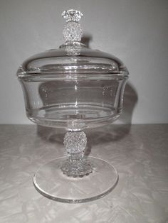 """Vintage Heisey Crystal Plantation 7 3/4"""" Tall Covered Candy Dish #HeiseyGlass Alter Ego, Candy Dishes, Have Some Fun, Vintage Home Decor, Pottery, Crystals, Antiques, Glass, Ebay"""