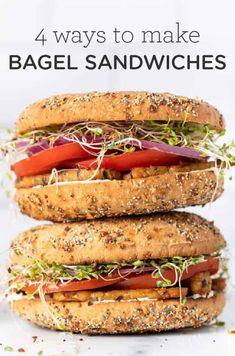 Healthy Bagel, Vegan Bagel, Healthy Eating, Healthy Food, Yummy Food, Veggie Recipes, Vegetarian Recipes, Healthy Recipes, Free Recipes