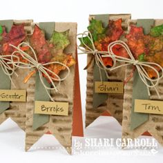 Leaves dipped in Dylusions Sprays on craft sheet and dried with heat gun between dippings to layer the colors