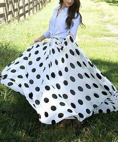 This Tara Lynn's Boutique Black & White Chiffon Polka Dot Maxi Skirt - Women & Plus by Tara Lynn's Boutique is perfect! #zulilyfinds