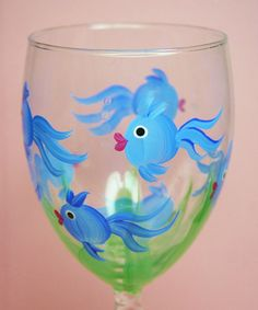 Hand Painted Wine Glass - Something Fishy -  Personalized Custom Wine Glasses for Housewarming, Birthday, Wedding, Party, Special Occasions