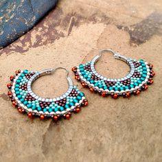 Aretes de tribal, aros con cuentas de Boho, naranja, cobre, pendientes de…