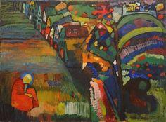 """Painting with houses"" (1909) (unframed) By Wassily Kandinsky ( Васи́лий Васи́льевич Канди́нский), from Russia (1866 - 1944)"