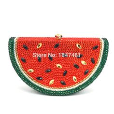 LaiSC Watermelon Pattern Evening Bag Diamond Luxury Crystal Clutch Bag Lovely Fruit Ladies Party Purse SC321