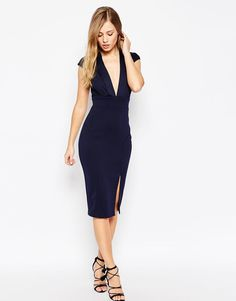 ASOS | ASOS Blouson Top Midi Pencil Dress With Scuba Skirt at ASOS