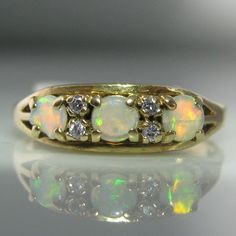 Opal And Diamond Gold Ring Diamond Rings, Diamond Engagement Rings, Gold Rings, Gemstone Rings, Engagement Jewelry, Galway Ireland, Van Cleef Arpels, Opals, Gemstone Colors