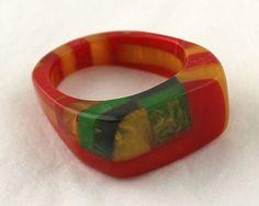 Deco Bakelite Ring - Multi Color Laminated - Large Size on Etsy, $135.00