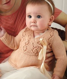 SK93 baby cardigan lace knit pattern