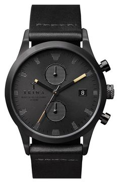 Triwa 'Sort of Black' Chronograph Leather Strap Watch, 38mm available at…
