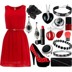 """""""Red and Black Outfit"""" by robinthesidekick on Polyvore"""
