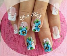 Nails & Co, Diy Nails, Hair And Nails, Beautiful Nail Designs, Beautiful Nail Art, Finger Nail Art, French Nails, French Manicures, Floral Nail Art