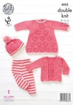 Baby Knitting Patterns Baby Set Knitted with Baby Glitz DK - King Cole. Knitting Wool, Knitting For Kids, Baby Knitting Patterns, Baby Patterns, Knitted Baby Outfits, Knitted Baby Clothes, Baby Set, Baby Baby, Crochet Baby