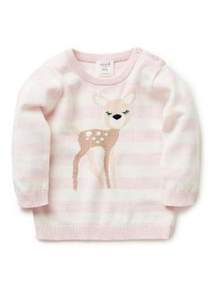 100% Cotton Jumper. Fully fashioned knit, long sleeve jumper in yarn-dyed block stripe. Features intarsia deer on front. Crew neck, with 3 button opening on left shoulder. Available in Navy & Shortcake.