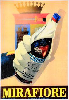 Mirafiore - Barolo - vintage poster