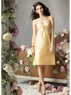 Tea Length Yellow Straps Idiosyncratic Sexy Bridesmaid Dress