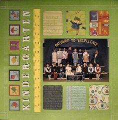 Kindergarten - good for class pics School Scrapbook Layouts, Baby Scrapbook Pages, Project Life Scrapbook, Kids Scrapbook, Scrapbook Sketches, Scrapbook Paper Crafts, Scrapbook Supplies, Scrapbooking Layouts, Scrapbook Cards