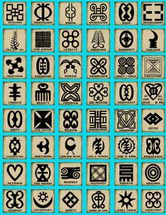 Ces symboles ont fait leur chemin dans la culture américaine. Ils sont utilisés pour marquer les marchandises en Centre-Afrique ( tableaux, vêtements, bijoux ). /  These symbols have made their way into the american culture. They are used on afro-centric merchandise ( paintings, garments, jewelry ).