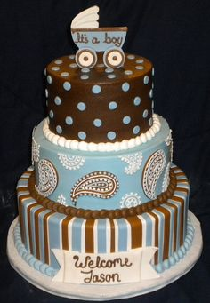 This is the cake I want to have made. Except the bottom part with the stripes. And of course pink instead of blue and possibly baby cowgirl boots for the topper.