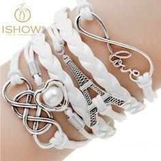 Comprar 1 get 1 Pulseiras presente da moda jóias infinito multilayer Charm bracelet para a mulher jóias grosso preço de couro dupla