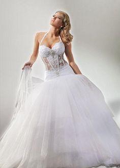 Halte Sexy wedding dress with corset inspired design. Sexy Wedding Dresses, Wedding Gowns, Bridesmaid Dresses, Tulle Wedding, Dress Sites, Wedding Wishes, Dream Dress, Perfect Wedding, Wedding Styles