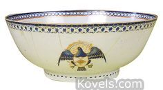 Chinese Export Eagle, Armorial, Blue, Gilt, Enamel, 1700 Punch Bowl