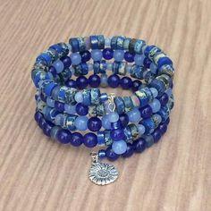 Beaded Blue Cuff Bracelet Blue Memory Wire Bracelet Multi Wrap