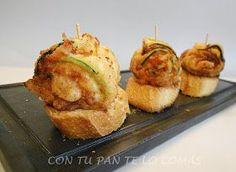 Láminas finitas de calabacín con jamón y queso, como aperitivo o cena. Riquísimos!