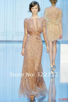 2013 New Arrival Elie Saab Haute Couture Tulle V-neck Full Sleeves Heavy Beading Floor Length Evening Prom Dress Gown on AliExpress.com.