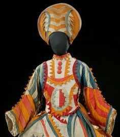 Costume for the Buffoon's Wife in Larionov and Slavinsky's ballet Chout, Diaghilev Ballet, designed by Mikhail Larionov, 1921. Museum no. S.762-1980