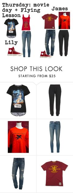 """""""True Gryffindor: Thursday"""" by kayceeclifford ❤ liked on Polyvore featuring Topshop, adidas Originals, Frame Denim, True Religion and Converse"""