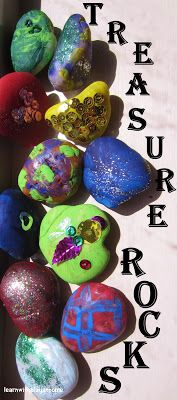 Treasure Rocks. Where sensory craftiness and creativity meets imagination... (use for story telling, role play, emotions, counting, grouping, literacy and more) PS: Kids love to paint rocks!