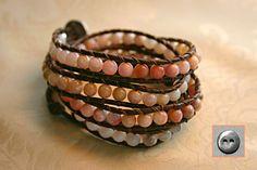Leather Wrap Bracelet Pink Peruvian Opal Beads by OceanAirStudio, $90.00