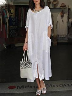 Fashion women Baggy Dresses To Add To Your Wardrobe Baggy Dresses, Casual Dresses, Casual Outfits, Casual Clothes, Boho Fashion, Fashion Dresses, Womens Fashion, Fashion 2017, Fashion Online