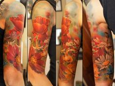 Andrey Barkov Grimmy - Colorful Half Sleeve Flowers Tattoo