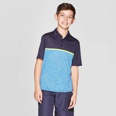 Boys' Chest Stripe Golf Polo Shirt - Champion Navy (Blue) S Dubai Golf, Golf Wear, Womens Golf Shoes, Ladies Golf, Women Golf, C9 Champion, Golf Fashion, Golf Polo Shirts, Golf Outfit
