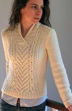 Ravelry: I ♥ Aran $ pattern by Tanis Lavallee - beige Aran cabled pullover