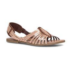 Sandale plate cuir cuivrée et marron