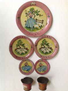 "Vintage 1931 Ohio Art tin-litho toy tea set ""Little Bo Peep"" Ruth Norling #OhioArt"