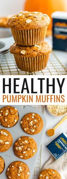 These healthy pumpkin muffins are naturally sweetened and made with whole wheat pastry flour, rolled oats, yogurt and fall spices. They're perfectly moist and fluffy and come together quickly in one bowl.