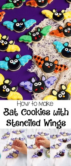 These bat cookies with stenciled wings are sugar cookies decorated with royal icing and fun stencils. Add candy eyes and a nose for a cute Halloween treat! Cute Halloween Treats, Halloween Cookies Decorated, Halloween Sugar Cookies, Halloween Baking, Halloween Desserts, Halloween Cakes, Decorated Cookies, Halloween Halloween, Fall Cookies