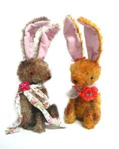 GINGER, orange vintage style mohair bunny rabbit, handmade artist bear OOAK