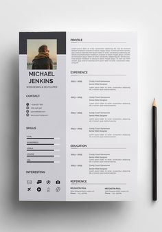 Clean & Modern Resume/cv template to help you land that great job. The flexible page designs are easy to use and customize, so you can quickly tailor-make your resume for any opportunity. Creative Cv Template, Modern Resume Template, Resume Design Template, Free Cv Template, Creative Cv Design, Conception Cv, Cv Website, Website Ideas, Cv Simple