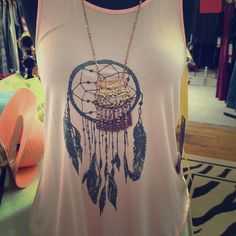 Pink racerback tank Pink racerback tank with dream catcher graphic design Yelete Tops Tank Tops